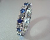 Eternity ring gold ring, 2.75 carat of blue and white Sapphire ring. Payment Plan is available.  P-018 Gold
