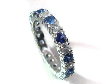 Eternity silver ring, 2.75 carat of blue and white Sapphire ring. Payment Plan is available.  P-018-1