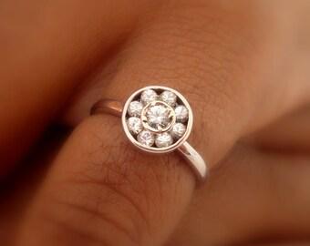 White Ceylon Sapphires,white gold ring, handmade P-038 WGWS