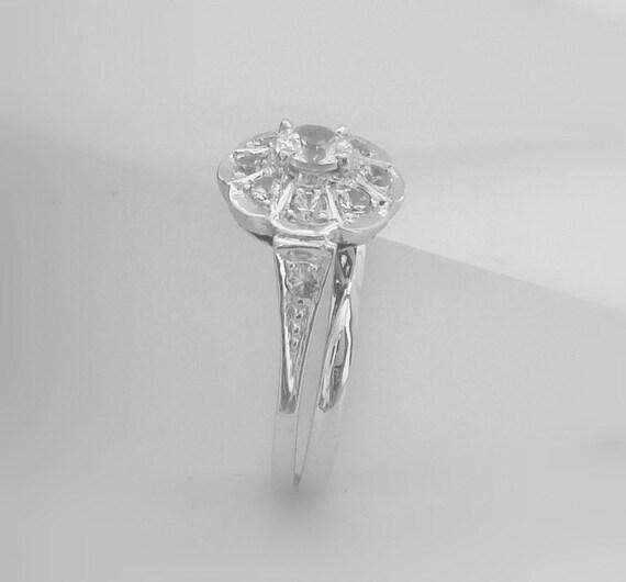 14k white gold Ring set, pure natural white Ceylon Sapphire ring Art Deco Engagement ring P-026
