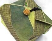 Fabric Box, Green, Handmade, Keepsake Jewelry Box
