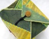 Handmade Fabric Box Green Yellow Decorative