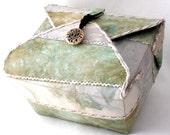 Handmade Fabric Box, Pale Margarita Green, Decorative Box