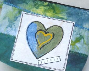 Fabric Wristlet, Handmade Bag, Blue Green, Heart