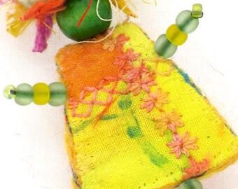 Fiber Art Brooch, Mixed Media, Yellow, Orange Girlfriend