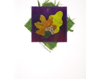 Greeting Card, Fiber Art, Leaves, Orange Yellow Purple Green