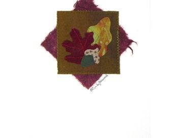Fiber Greeting Card, Fall, Maroon Green, Autumn