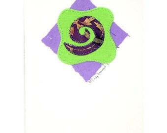 Handmade Greeting Card, Spiral, Purple, Green