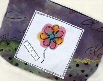 Handmade Clutch, Zippered Bag, Purple, Green, Flower