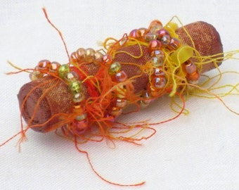 Mixed Media Brooch, Tangerine Orange, Beaded