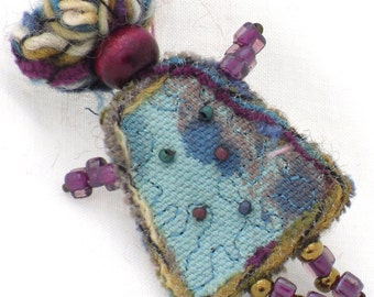 Mixed Media Jewelry Fiber Brooch Aqua Turquoise Girlfriend