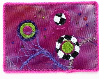 ACEO Art Card - Mixed Media Green Fuchsia Pink