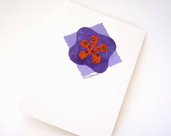 Mixed Media Greeting Card - Orange Purple Flower Beaded