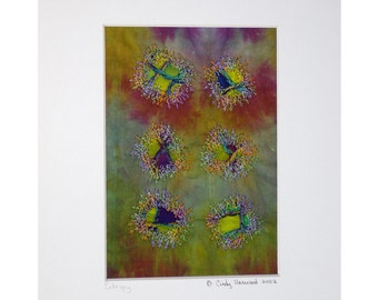 Fiber Art Collage, Quilt Collage, Matted, Framable Art