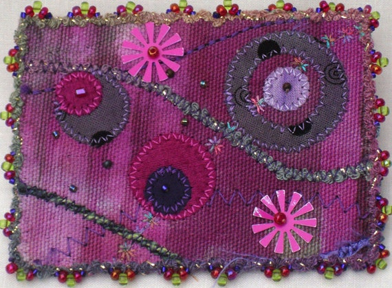 ACEO Art Card - Mixed Media Purple Pink Dots