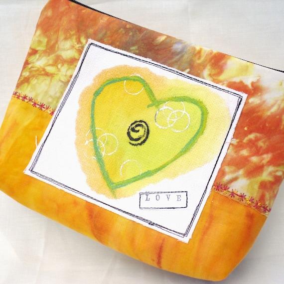 Handmade Zippered Clutch Bag Purse - Orange Love