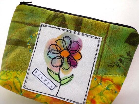 Handmade Zippered Clutch Bag - Green Orange Pink Flower