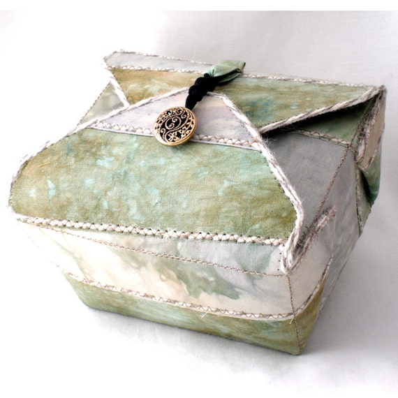 Handmade Fabric Box, Pale Margarita Green, Decorative Box