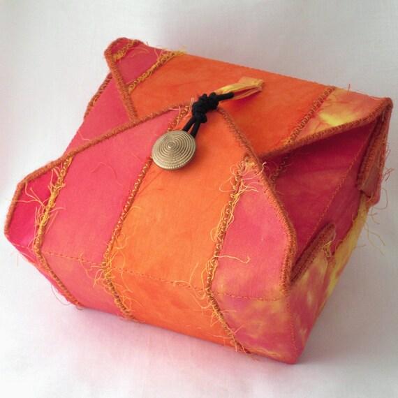 Fabric Box, Tangerine Orange, Jewelry Gift Cosmetics