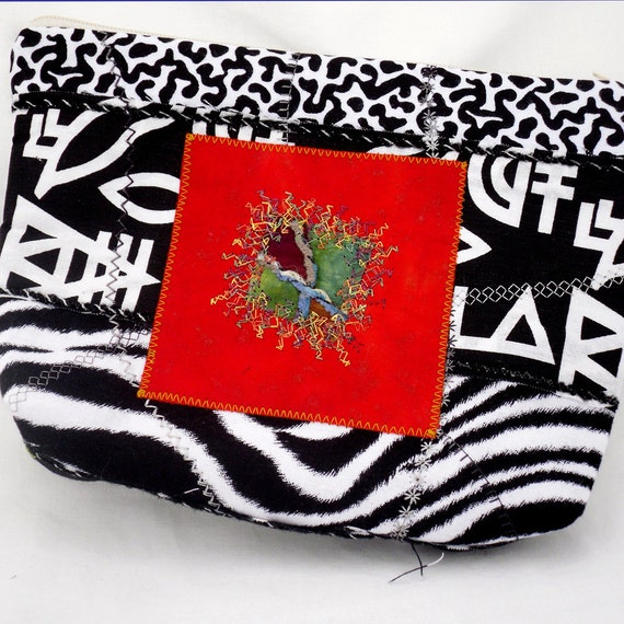 Zippered Pouch Clutch Cosmetics Bag Black White Red