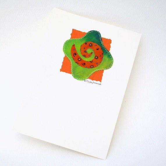 Mixed Media Greeting Card, Spiral, Orange, Green