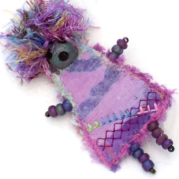 Brooch Pin Fiber Art, Mixed Media, Orchid Purple Girlfriend