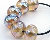 Handmade lampwork bead set of 6 metallic highly reflective lemon beads