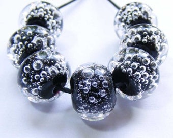 Handmade lampwork beads set of 7 black and clear glass bubble beads