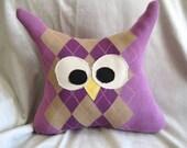 Upcycled Argyle Sweater Owl Pillow