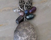 Double Sided Antiqued Silver Locket Necklace