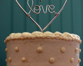 Whole Lotta Love - Wire Heart Wedding Cake Topper