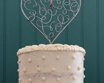 Unique Filigree Lacy Heart Wire Wedding Cake Topper