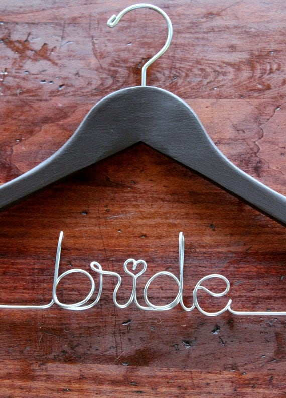 Custom wire name wedding gown hanger for Personalized wire wedding dress hanger