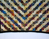 Antique Log Cabin Silk Quilt - Wall Tapestry