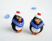 Sailor Penguin Post Earrings, Fun nautical jewelry hand sculpted in polymer clay