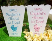 15 Personalized Baby Shower, About to Pop Popcorn Boxes for Baby Boy, Baby Girl, Generic Party Favors