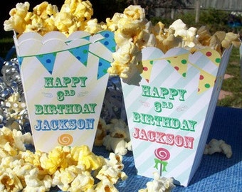 15 Personalized Carnival Popcorn Boxes Boys Birthday Circus Theme Favors Carnival Favors Movie Night Popcorn Box Old Fashioned