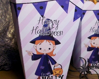 15 Personalized Halloween Popcorn Boxes for Girls Party Favors