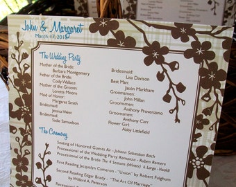 Cocoa Brown Flowered Personalized Wedding Programs