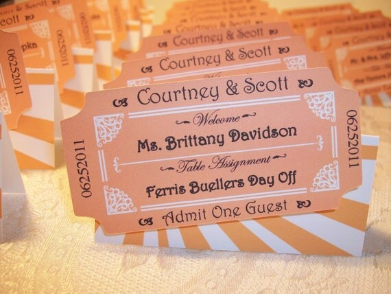 Movie Ticket Personalized Escort  or Place Cards