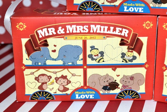15 Personalized Animal Cracker Boxes for Wedding Favors, Party Favors, Zoo Wedding, Circus Wedding and Zoo Party Circus Theme