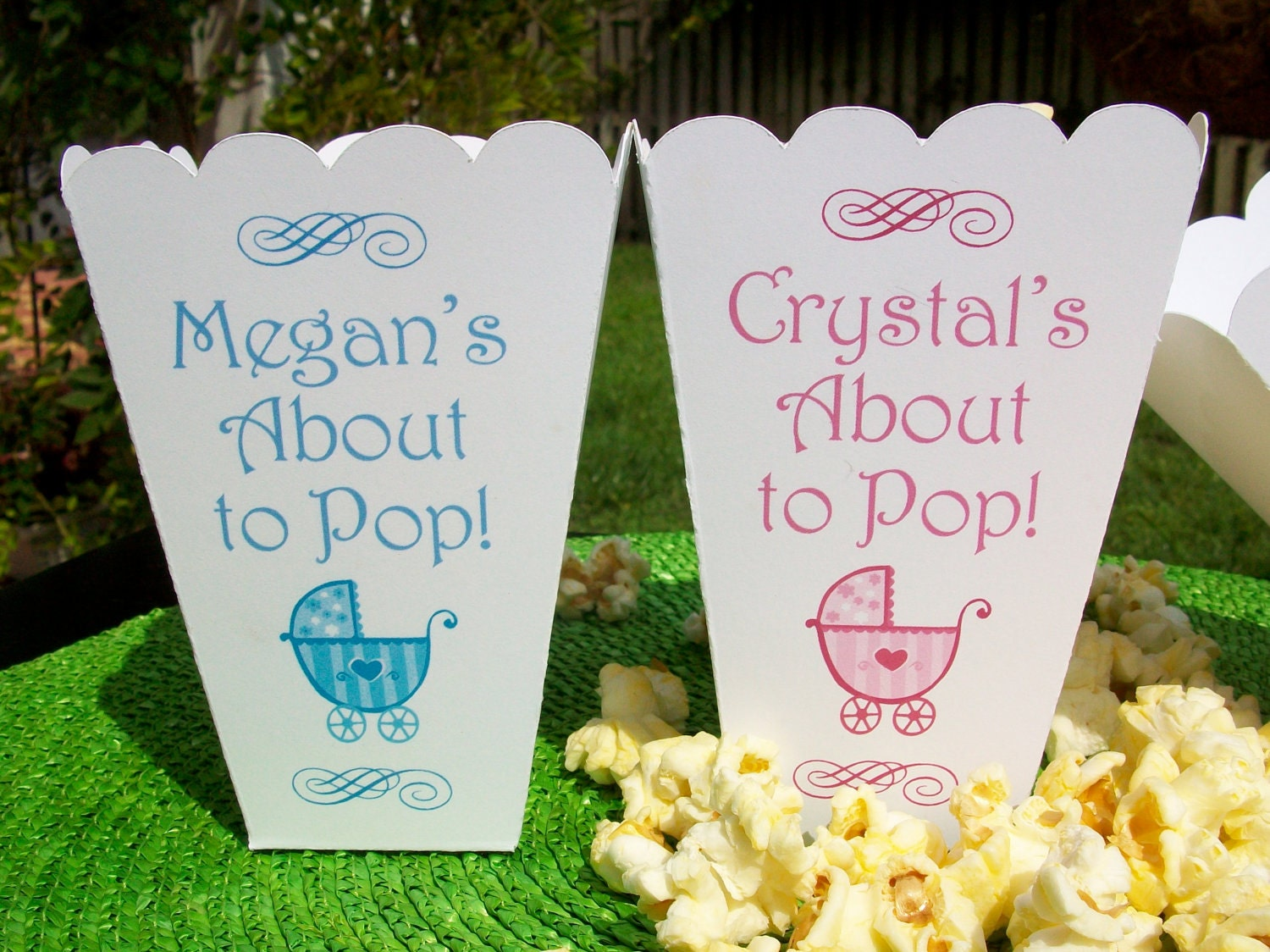 15 personalized baby shower about to pop popcorn boxes for