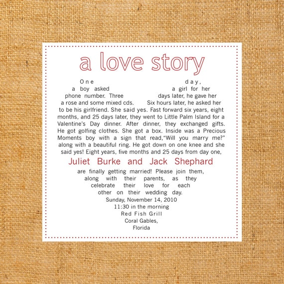 Y Loves A Love Story Wedding Invitation