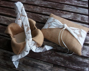 Ring Bearer Pillow and  Flower Girl Basket Set  in Burlap and Ivory  Lace