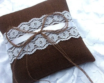 Brown Burlap/Hessian Rustic Ring Pillow/Cushion with a Strip of White Vintage Lace