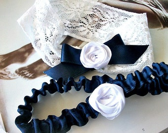 Bridal Garter  Set in White Stretchy  Lace, Navy Blue Satin Ribbon and White Rosettes