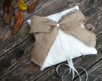 Ivory Ring Bearer Pillow, Wedding Cushion in  Raw Dupioni  Silk and Large Burlap Bow