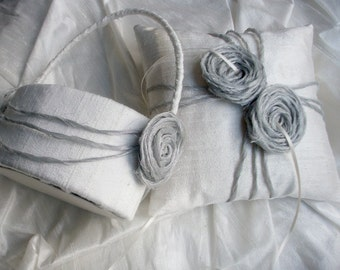 Ring Bearer Pillow and Oval Flower Girl Basket Set in Ivory or White Raw Silk with Metallic/Silk Organza Rosettes