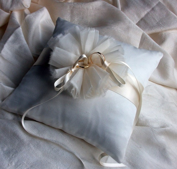 Ring Bearer Pillow/Cushion in Ivory Raw Silk and Pure Silk Organza Flower