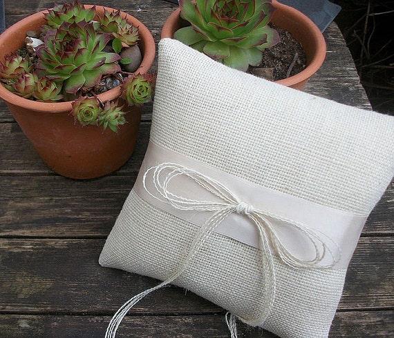 Cream Burlap Ring Bearer Pillow/Cushion  with Cream Ribbon